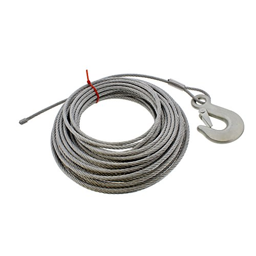 ABN Cargo Tow Trailer Tie Down Strap Cable with Hook and Winch Mount - 50ft x 3/16in ATV, UTV, Boat Tiedown