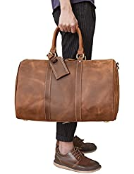 Mens Genuine Leather Travel Duffle Large Cow Leather Weekend Bag Overnight Messenger (Brown3)
