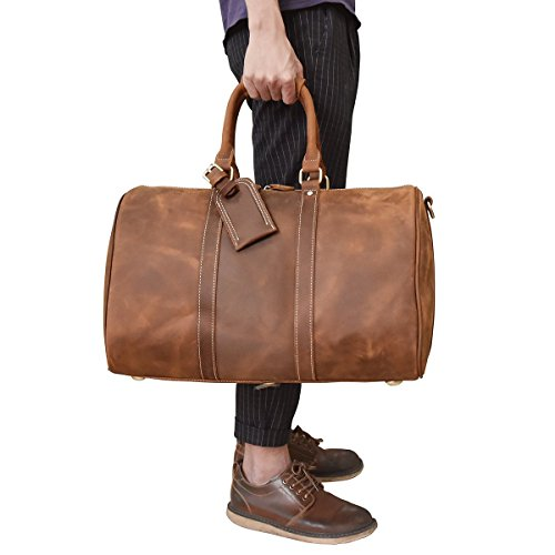 Valise Bag (Men's Genuine Leather Travel Duffle Large Cow Leather Weekend Bag Overnight Messenger (Brown3))
