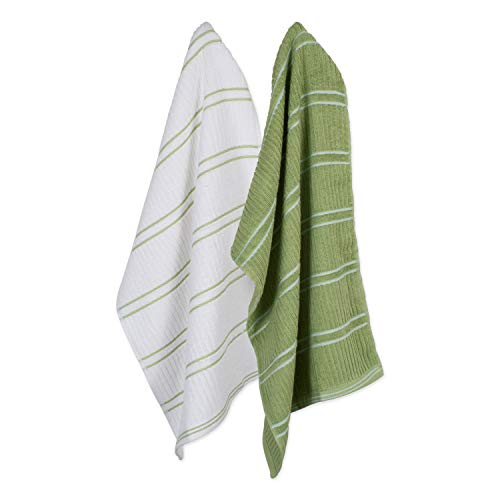 Ribbed Terry Kitchen Dish Towels (16x26 Set of 6 - Assorted Green & White) Absorbent & Durable for Wiping Down Countertops, Dusting, or Drying Dishes