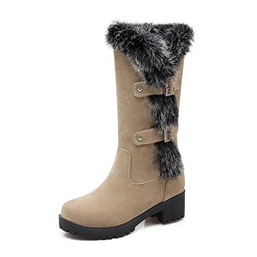 WeiPoot Women's Kitten Heels Solid Pull On Frosted Round Closed Toe Boots, Beige, 37 ()