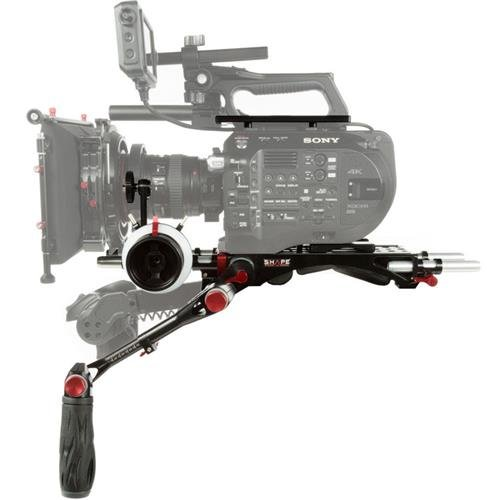 Shape Shoulder Rig Bundle for Sony FS7 and FS7M2 Cameras, Includes V-Lock Quick-Release Baseplate, Telescopic Handle, Top Plate, 15mm Rod Bloc, 15mm Aluminum Rods (Pair, 4
