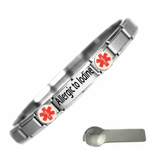 JSC Jewellery Allergic To Iodine Medical Alert Nomination Style Stainless Steel Bracelet