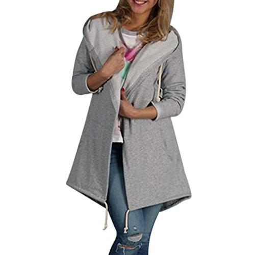 Women Blouse Among Autumn Hooded Coat Casual Long Sleeve Knee-Length Jacket Windbreaker Cardigan Outwear Top (L, (Crew Petite Coat)