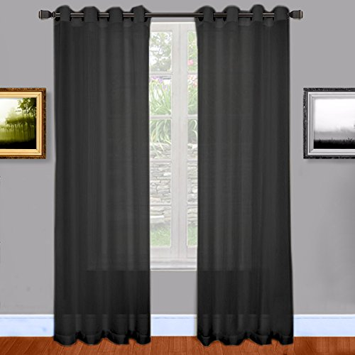 Warm Home Designs Sheer Window Curtains With Grommet Top, 2 Panels  54 Inch By 84 Inch   Black, 84