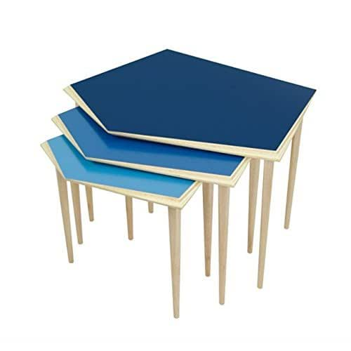 Nest of 3 wooden blue side tables mid for Modern nest of coffee tables