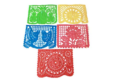 Papel Picado Large Mexican Party Banner (3 PACK) Traditional Plastic Fiesta Design From Puebla 20 Ft Long Each [60 Ft Long Total] -