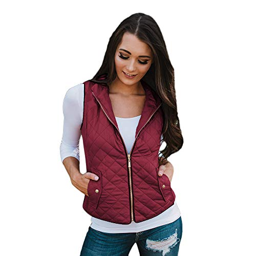 Creazrise Women's Stand Collar Lightweight Padded Zip Vest Quilted Gilet Jacket Pocket (Wine,2XL) from Creazrise Womens Coat