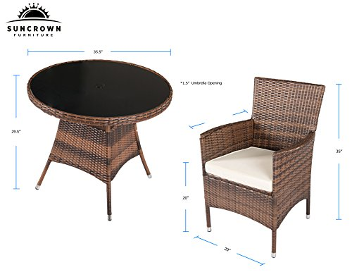 Suncrown outdoor furniture all weather wicker dining table for All weather garden chairs