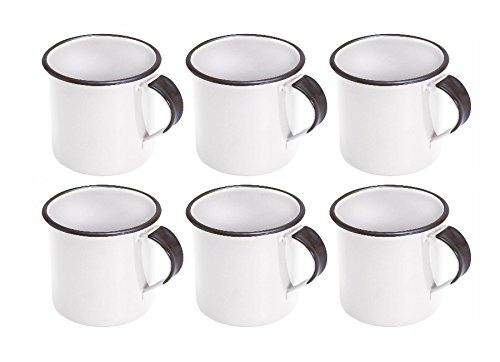 Kit Com 6 Canecas Esmaltadas ou Ágata Branco 150ml Para Café - Metallouça