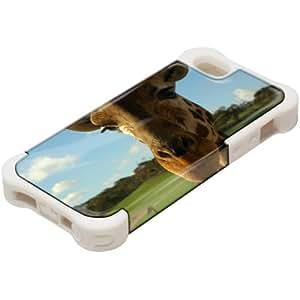 Animales Salvajes 10081, Design Blanco Caso Carcasa Funda de Silicona Hybrid Armor Protección Case Cover con Diseño Colorido y Protector De Pantalla para Apple iPhone 5 5S.