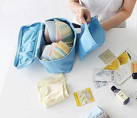 SUNXIN Bolsa de almacenamiento multifunci/ón de viaje Bolsa cosm/ética simple Ropa interior Organizador de almacenamiento de sujetador Bolsa de lavado port/átil