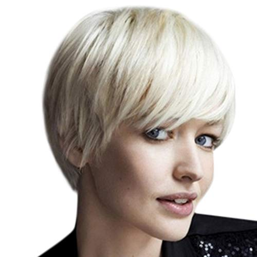 Oufenli Short Bob Hair Wig 4'' Short Straight Hair Wig Fiber Heat Synthetic Wig With Natural Inclined Bangs For Black White Women Daily Cosplay Party Wig (White) (White) ()
