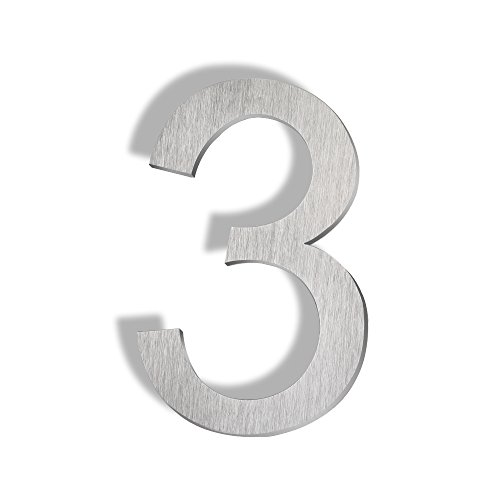 (Mellewell Floating Mount House Numbers 5 inch, Stainless Steel Brushed Nickel, Number 3 Three)