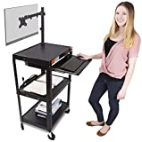 Line Leader AV Cart with Keyboard Tray and Monitor Mount   Mobile Workstation/Presentation Cart with Monitor Arm   Take Your Office On-The-Go with Our Stand Up Computer Cart! (Black / 24'' x 18'')