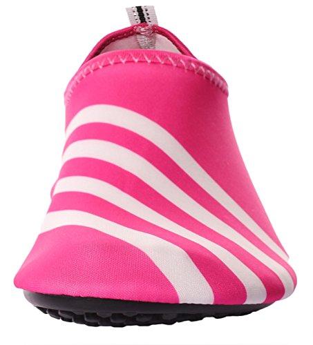 Caihee Mujeres Y Hombres Zapatos Ligeros De Secado Rápido Slip On Water Zapatos De Piel Descalzo Aqua Red3