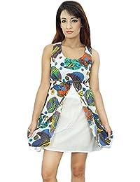 Women Sundress Cotton Dress Printed Short Length Casual Summer Beach