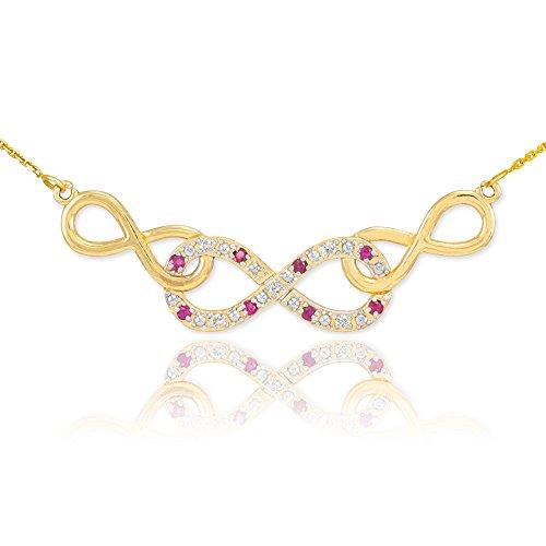 14 ct 585/1000 Or Rubis Triple Infinite-Collier Avec Diamants