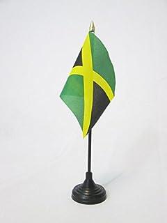 Jamaica Jamaican 2 Flag Desktop Table Display With Gold Base