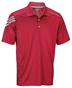 Adidas Athletic Men's Climacool 3-Stripes Polo Shirt (Small, Bright Coral)