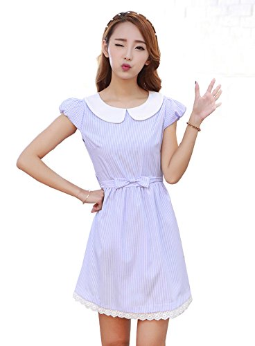 [TULIPTREND Women's Fresh Doll Collar Short Sleeve Dress Light Blue US Small/Asian Medium] (Grady Twins Costume)