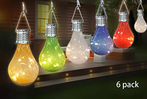lbs 6 Pack Waterproof Rotatable Outdoor Garden Camping Hanging LED Light Lamp Bulb Globe Hanging Lights for Home Christmas Party Holiday Decorations (6 Pack-Solar Light Bulbs) ()