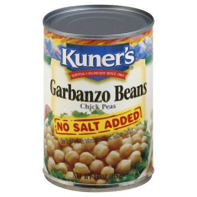 Kuner's Garbanzo Beans- No Salt Added-15 Oz. (Pack Of 12) (Kuners Beans)