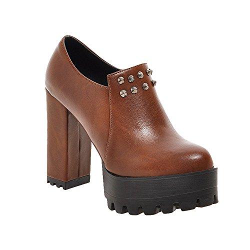 Reißverschluss Mee Plateau Gelbbraun Ankle Shoes chunky Boots heels Damen Nieten 7r7OYF