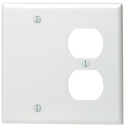 Leviton 88008 002-000 1-Duplex 1-Blank Standard Size Wall Plate, 2 Gang, 4.5 in L X 4.56 in W 0.22 in T, Standard White