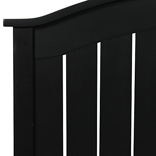 Fashion Bed Group Finley Wood Headboard Panel with Curved Top Rail and Slatted Grill Design, Black Finish, Full / Queen