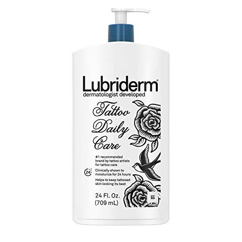(Lubriderm Tattoo Daily Care Water-Based Lotion, Non-Greasy & Unscented 24-Hour Moisturizing Lotion with Glycerin, Vitamin B5 & Skin Essential Moisturizers for Tattoo Aftercare, 24 fl. oz)