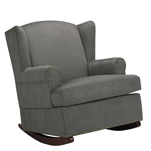 Baby Relax Harlow Wingback Nursery Room Rocker with Nail Heads, Charcoal - Upholstered Rocker Recliner