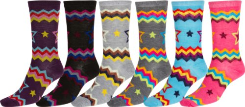 Sakkas Women's Poly Blend Soft and Stretchy Crew Pattern Socks Assorted 6-pack - ZigZag