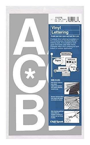 Lettering White (Chartpak Self-Adhesive Vinyl Capital Letters, 3 Inches High, White, 50 per Pack (01076))