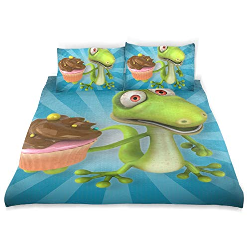 Little Twin Bed Lizard (SUABO 3 Pieces Duvet Cover Twin Bedding Set Soft Lizard Quilt Bed Covers for Kids)