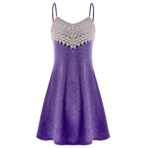 Lljin Fashion Womens Crochet Lace Backless Mini Slip Dress Camisole Sleeveless Dress