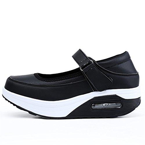 SHINIK Zapatos de mujer Tulle Spring Summer Fall Comfort Suela ligera Sneakers Wedge Heel punta redonda Hebilla para Casual G