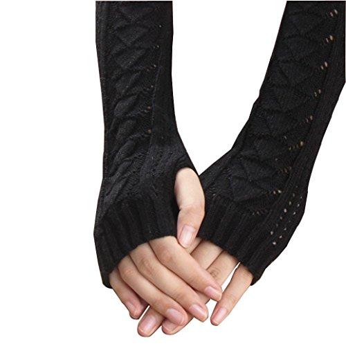 Soft Knitted Gloves,Hemlock Women's Hollow Out Fringe Gloves Winter Warm Gloves Mittens (Black)