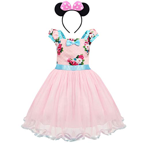 IBTOM CASTLE Halloween Costume Princess Photo Prop Baby Girl Dress Up w/Headband 2-pc Photography Props Christmas Boutique Kids Clothing Flower Blue Blush 4-5 Years