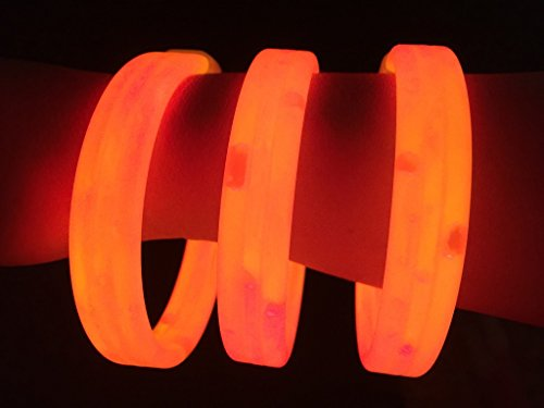 "Glow Sticks Bulk Wholesale Wristbands, 25 9"" Orange Triple-wide Glow Bracelets, Bright Color, Glow 8-12 Hrs, 25 Connectors Included, Glow Party Favors Supplies, Sturdy Packaging, GlowWithUs Brand"