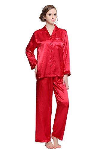 (Lavenderi Women's Long Sleeve Premium Satin Pajama Set (X-Large, Red))