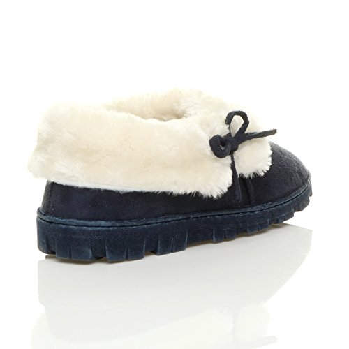 Ajvani Womens Ladies Flat Winter Faux Sheepskin Fur Washable Luxury Slip on Ankle Booties Slippers Size Navy Blue JbXDp