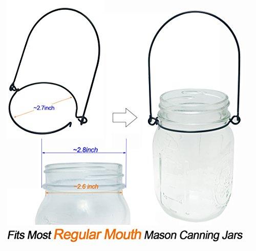 Mason Jar Hanger, 12 Pack Black Stainless Steel Wire Handles(Handle-Ease) for Regular Mouth Mason Jar, Ball Pint Jar, Canning Jars, Best Jar Holder Hooks Hanging Handle, Set of 12, Black by Aobik (Image #2)