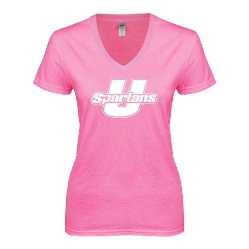 South Carolina Upstate Next Level Ladies Junior Fit Deep V Pink Tee 'Spartans U'