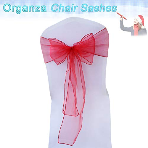 Accessories Event - BITFLY Organza Chair Sashes for Wedding/Party - Chair Cover Sashes/Bows Sash/Ribbon/Tie Decor, Suit for Banquet, Catering, Reception, Events Supplies Chair Decorations Accessories (Red, Pack of 100)