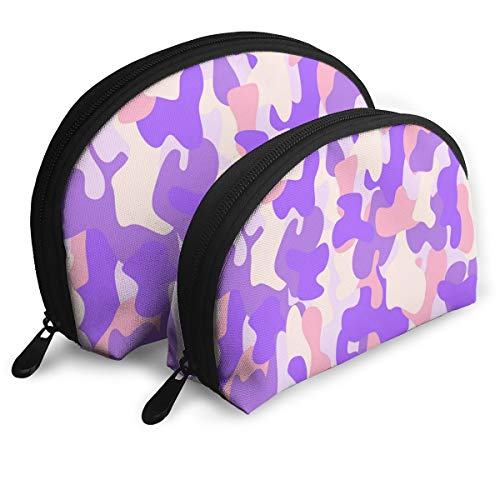 Eratdatd Customized Camouflage Seamless Pattern in A Pink Violet Shell Portable Zipper Bag?2 Bags?, Suitable for Women Cosmetics, Handbags/Handbags, Women Accessories. -