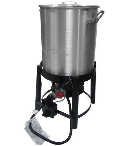 New 36 Quart Outdoor Turkey Fryer Deep Steamer & Food Boiler Pot Stand Burner Boiler Stand