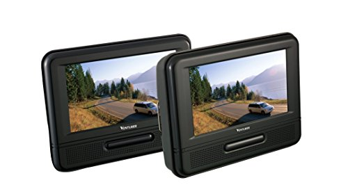 Venturer (PVS79703) Dual Screen Mobile DVD Player – Set of Two 7-Inch LCD Screens, (7-Piece Kit)