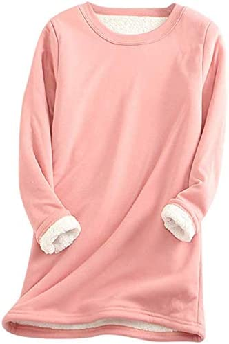 iSunday - Camiseta térmica de Manga Larga para Mujer, algodón cálido, térmico, Cuello Redondo de Manga Larga, algodón, Rosa, Medium: Amazon.es: Hogar