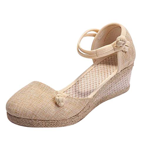 GDJGTA Wedges Sandals Women's Vintage Hemp Buckle Wedge Round Toe Casual Sandals Singles Shoes Beige